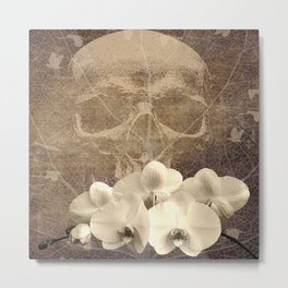 Skull Human Vintage Flowers Digital Collage Metal Print