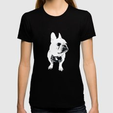 George the cutest French Bulldog Womens Fitted Tee Black MEDIUM