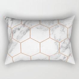 Rose gold marble hexagons honeycomb pattern Rectangular Pillow