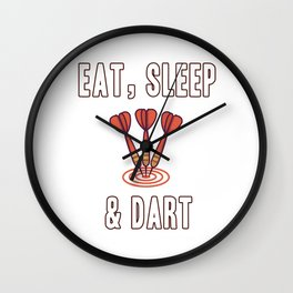 Eat Sleep & Dart is a gift idea for darts players Wall Clock