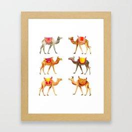 Cute watercolor camels Framed Art Print