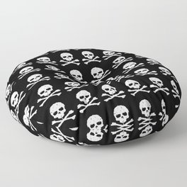 Skull and XBones in Black and White Floor Pillow