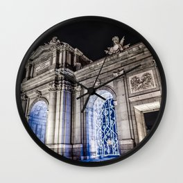 Puerta de Alcala in Madrid at night Wall Clock