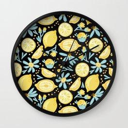 Lemon Pattern Black Wall Clock