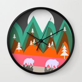 Bears walking home Wall Clock