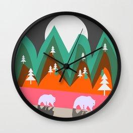 Bears walking home Wall Clock