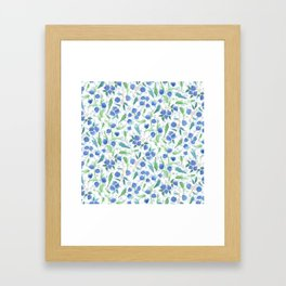 Watercolor Blueberries Framed Art Print