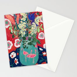 Wild Flowers in Flamingo Vase Floral Painting Stationery Cards