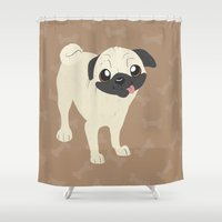 pug Shower Curtains featuring Pug by Sarah