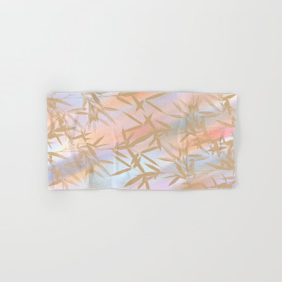 Floating Golden Leaves Abstract Hand & Bath Towel