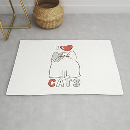 I Love Cats Big Red Heart Rug