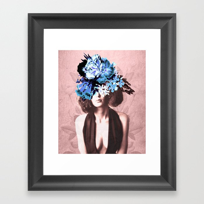 Floral Woman Vintage Blue and Pink Rose Gold Framed Art Print