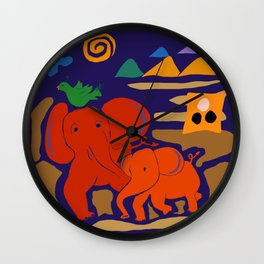 Red Elephants and Emerald Green Bird Wall Clock