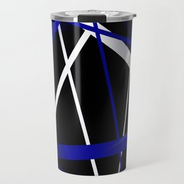 Seamless Royal Blue and White Stripes on A Black Background Travel Mug