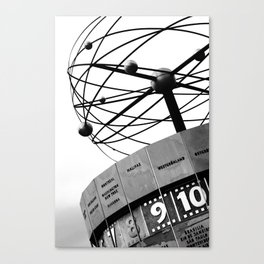 World Clock Berlin BW Canvas Print