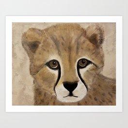 Cheetah Cub - Original Textured Painting Art Print