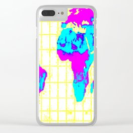 World Map: Gall Peters Colorful Clear iPhone Case