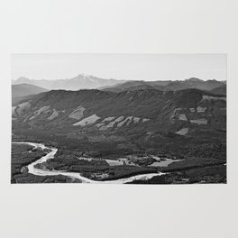 River in the Mountains B&W Rug