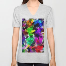 psychedelic splash painting abstract texture in pink blue green yellow red black Unisex V-Neck