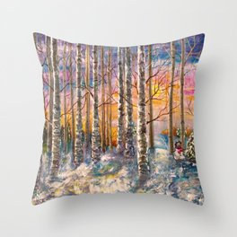 Winter Sunset Landscape Impressionistic Painting With Palette Knife Throw Pillow