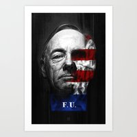 house of cards Art Prints featuring House of Cards by offbeatzombie