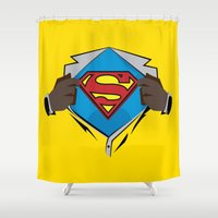 superman Shower Curtains featuring Superman  by Wave Sports