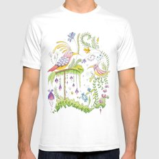 garden and birds White MEDIUM Mens Fitted Tee