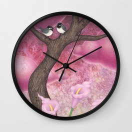 chickadees and calla lilies Wall Clock
