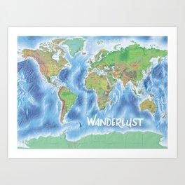 Wanderlust physical world map green/blue Art Print
