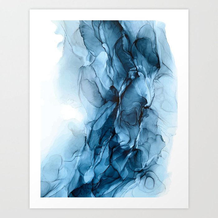 Deep Blue Flowing Water Abstract Painting Art Print By Elizabethschulz