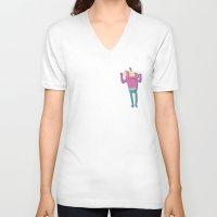 katamari V-neck T-shirts featuring Katamari Cousins - Macho by cakeisforrobots