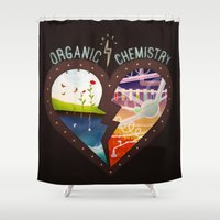 chemistry Shower Curtains featuring Organic Chemistry by Jaclyn Tan