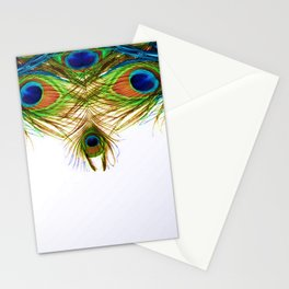 GORGEOUS BLUE-GREEN PEACOCK FEATHERS ART Stationery Cards