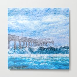 Storm Over The Sea - Tybee Island Pier Metal Print