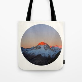 Mid Century Modern Round Circle Photo Sunrise Over Snowy Mountains Tote Bag