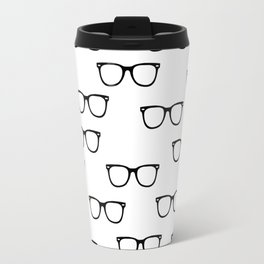I See // Hipster Glasses Pattern Travel Mug