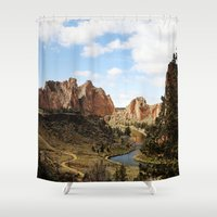 melissa smith Shower Curtains featuring Smith Rock by Sylvia Cook Photography