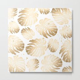 Gold Monstera Leaves Metal Print