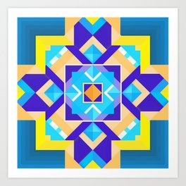 Geometric Tribal Mandala Inspired Modern Trendy Vibrant (Blue, Cobalt, Yellow, Orange, Purple) Art Print