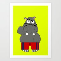 hippo Art Prints featuring Hippo by lescapricesdefilles