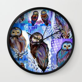 Owl Collage Wall Clock