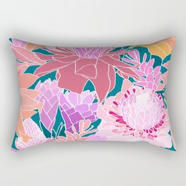 Ginger Flowers in Coral + Dark Teal Green Rectangular Pillow
