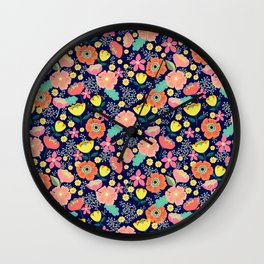 Night wild flowers Wall Clock