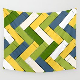 Avocado yellow and blue rectangles Wall Tapestry