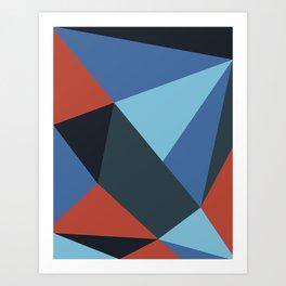 Neon Salmon Geometry Art Print