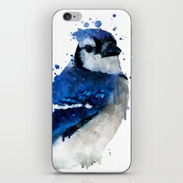 Watercolor blue jay bird iPhone Skin