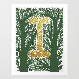 Botanical Metallic Monogram - Letter I Art Print