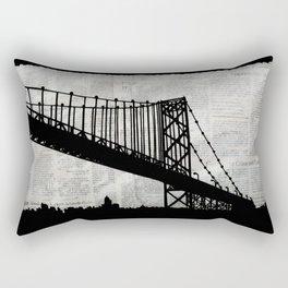 News Feed , Newspaper Bridge Collage Rectangular Pillow
