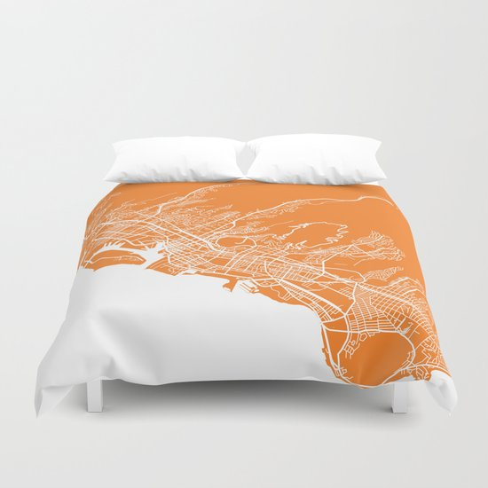 Honolulu map orange Duvet Cover