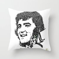 elvis presley Throw Pillows featuring Elvis Presley by The Curly Whirl Girly.